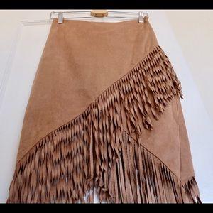 Express faux fringe wrap skirt in tan